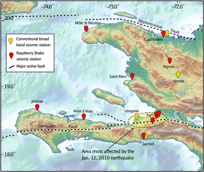 Map of Haiti showing Raspberry Shake seismograph stations