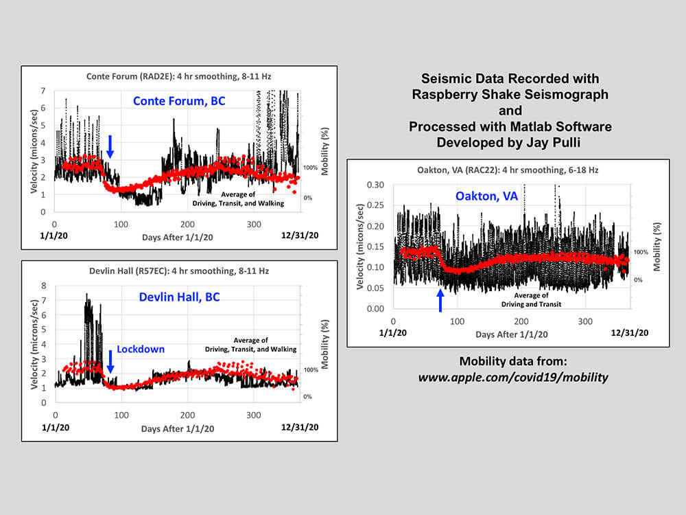 Seismic noise and mobility data fluctuations